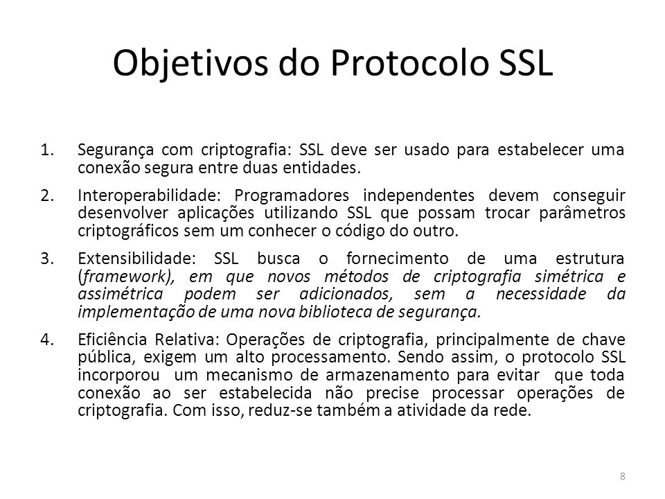 Objetivos do Protocolo SSL