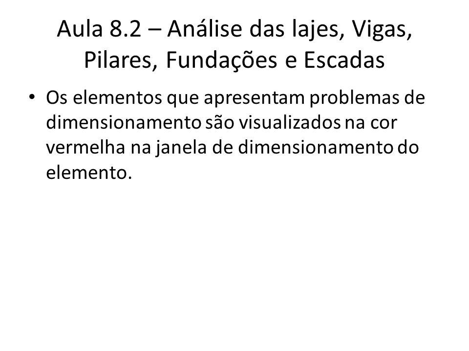 Aula 8.2 – Análise das lajes, Vigas, Pilares, Fundações e Escadas