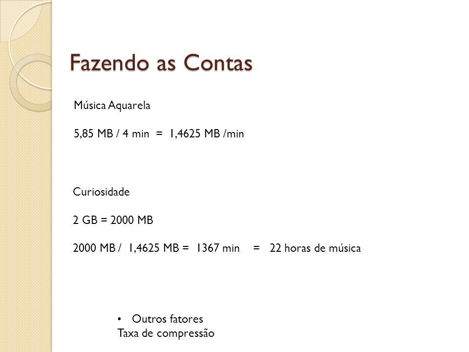 Fazendo as Contas Música Aquarela 5,85 MB / 4 min = 1,4625 MB /min
