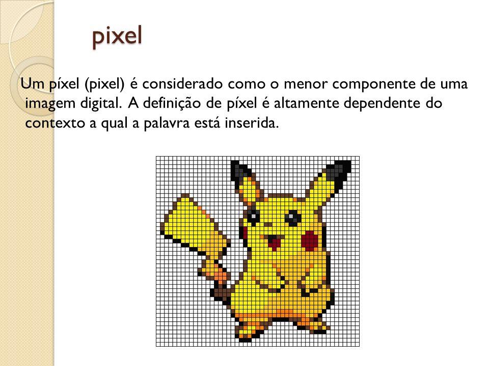 pixel Um píxel (pixel) é considerado como o menor componente de uma