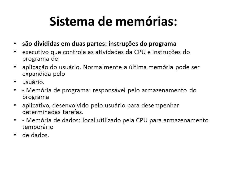 Sistema de memórias: são divididas em duas partes: instruções do programa. executivo que controla as atividades da CPU e instruções do programa de.