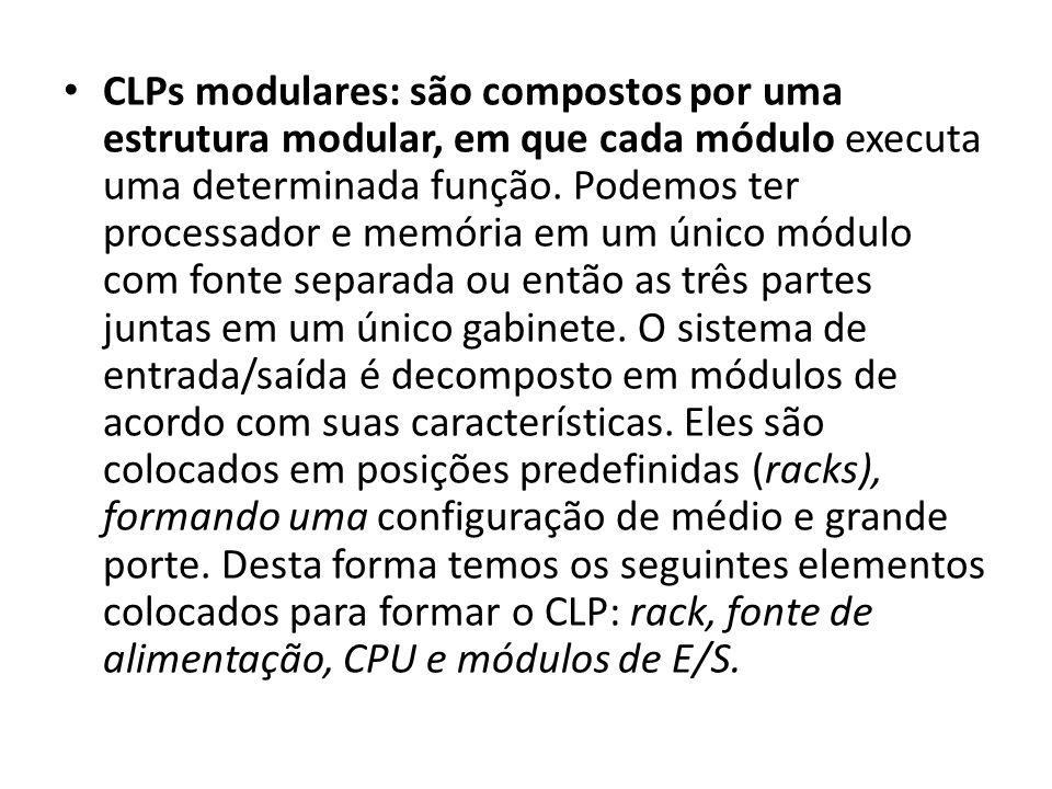 CLPs modulares: são compostos por uma estrutura modular, em que cada módulo executa uma determinada função.