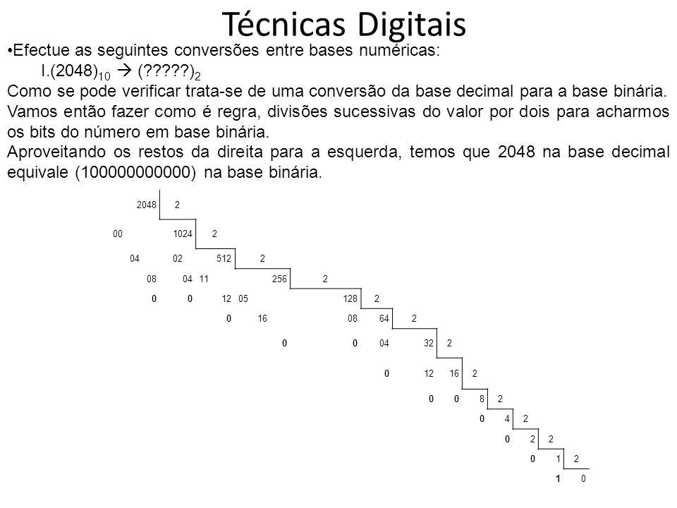 Técnicas Digitais Efectue as seguintes conversões entre bases numéricas: (2048)10  ( )2.
