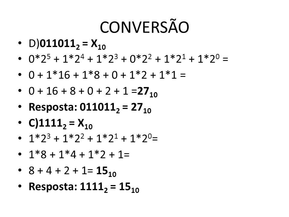 CONVERSÃO D)0110112 = X10 0*25 + 1*24 + 1*23 + 0*22 + 1*21 + 1*20 =