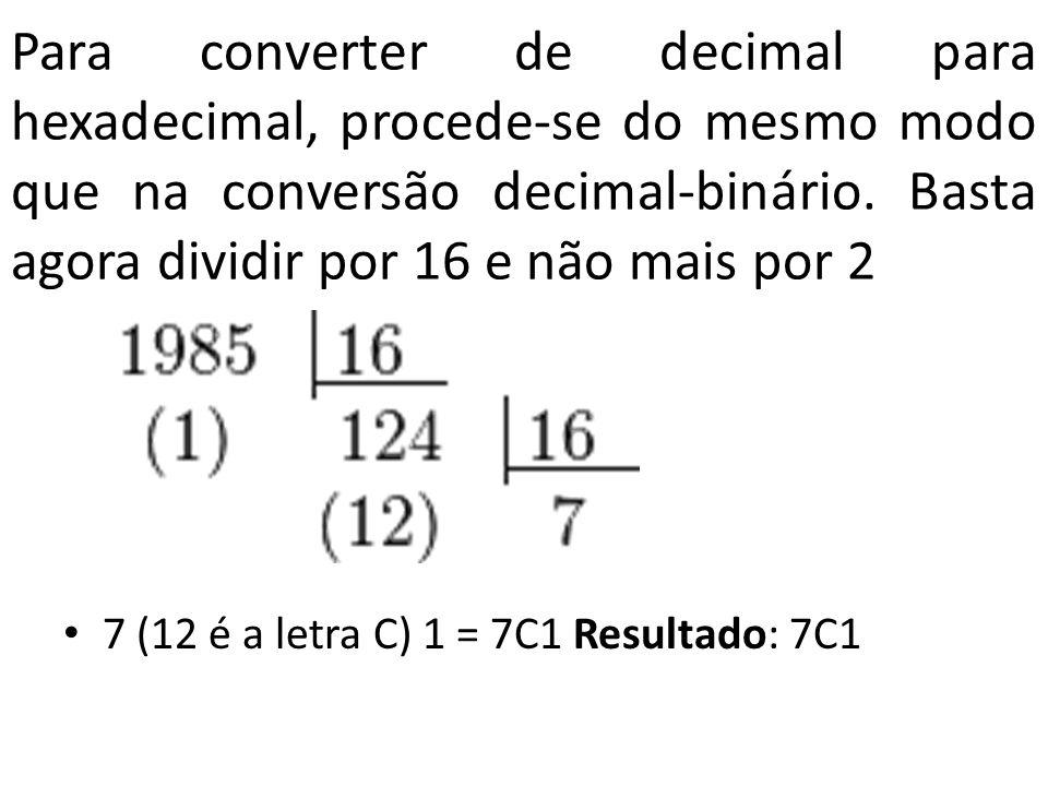 Para converter de decimal para hexadecimal, procede-se do mesmo modo que na conversão decimal-binário. Basta agora dividir por 16 e não mais por 2