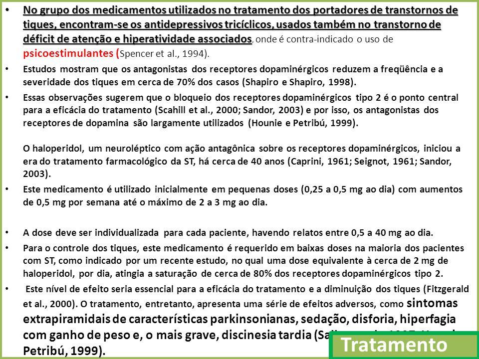 No grupo dos medicamentos utilizados no tratamento dos portadores de transtornos de tiques, encontram-se os antidepressivos tricíclicos, usados também no transtorno de déficit de atenção e hiperatividade associados, onde é contra-indicado o uso de psicoestimulantes (Spencer et al., 1994).