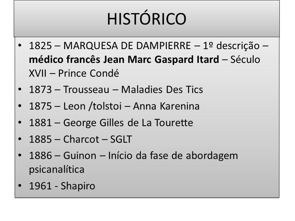 HISTÓRICO 1825 – MARQUESA DE DAMPIERRE – 1º descrição –médico francês Jean Marc Gaspard Itard – Século XVII – Prince Condé.