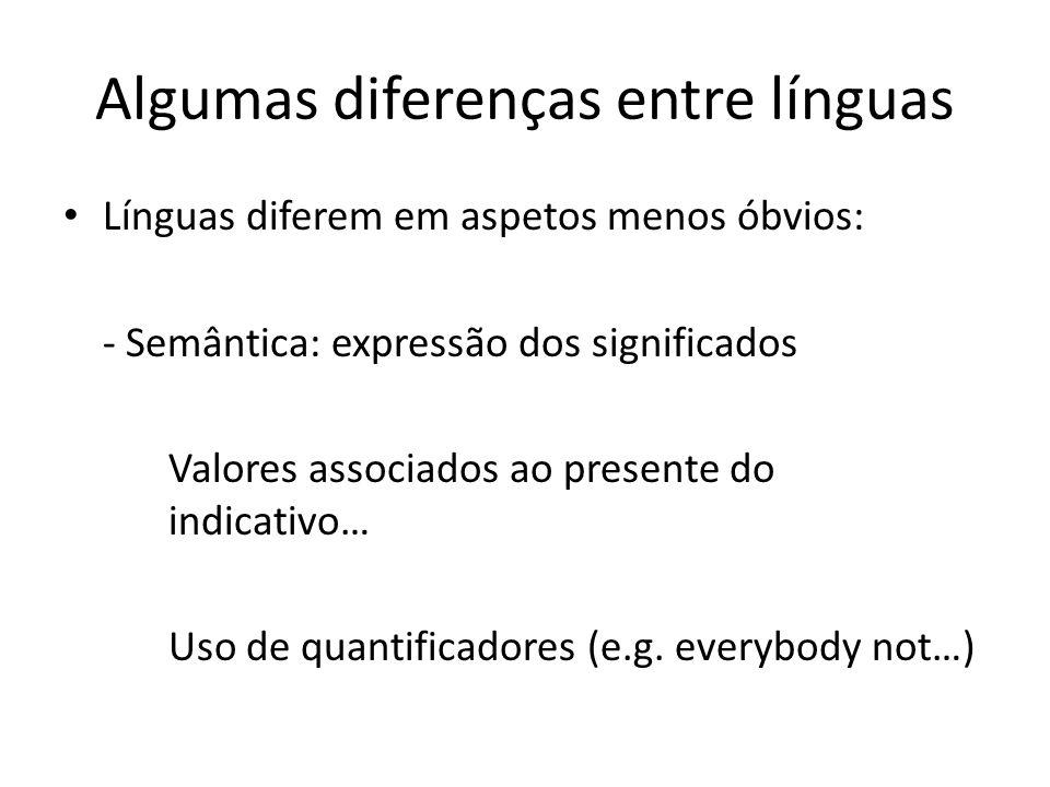 Algumas diferenças entre línguas