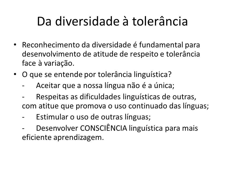 Da diversidade à tolerância