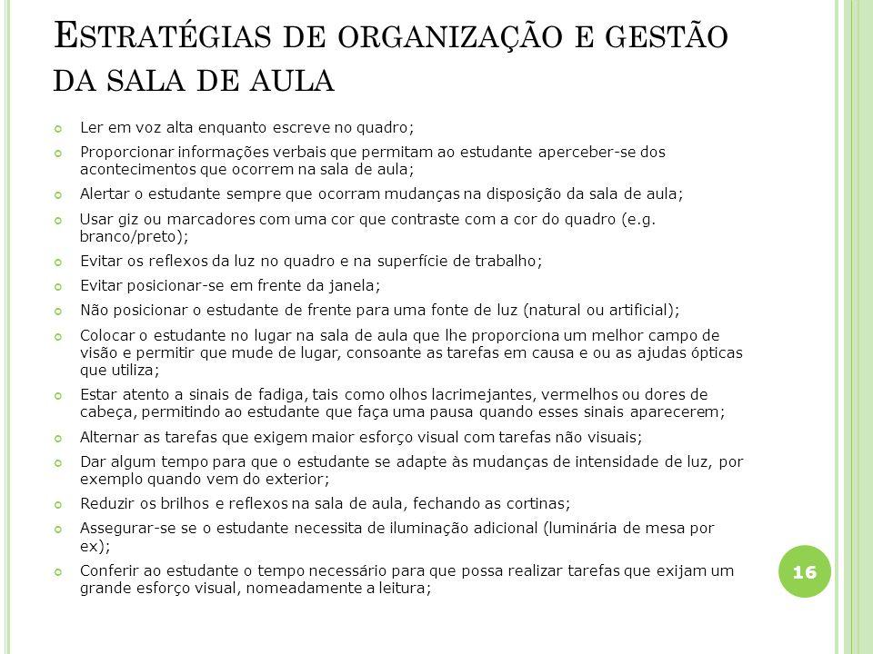 Estratégias de organização e gestão da sala de aula