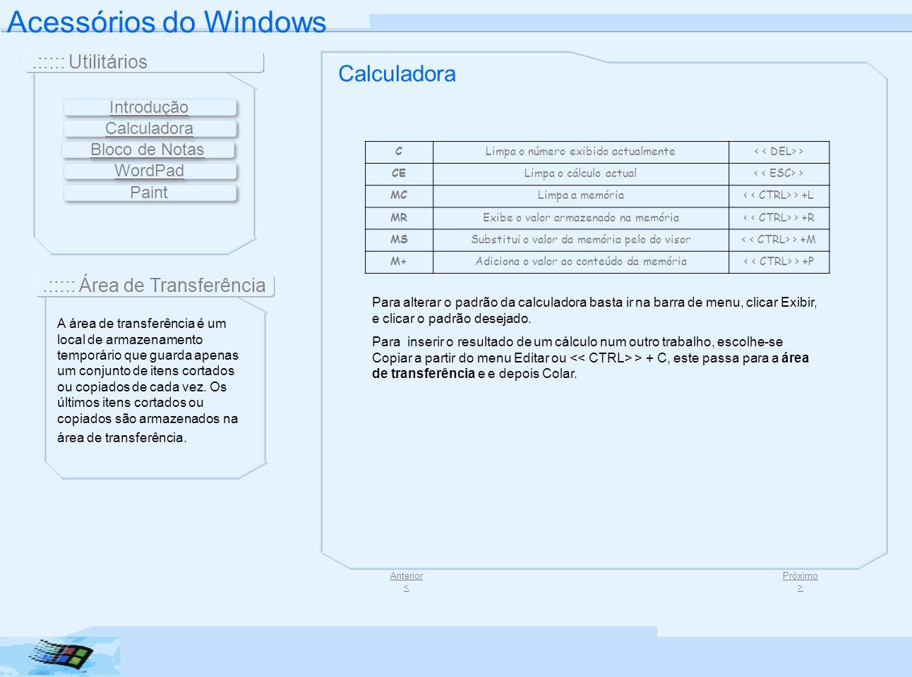 Acessórios do Windows Calculadora .::::: Utilitários