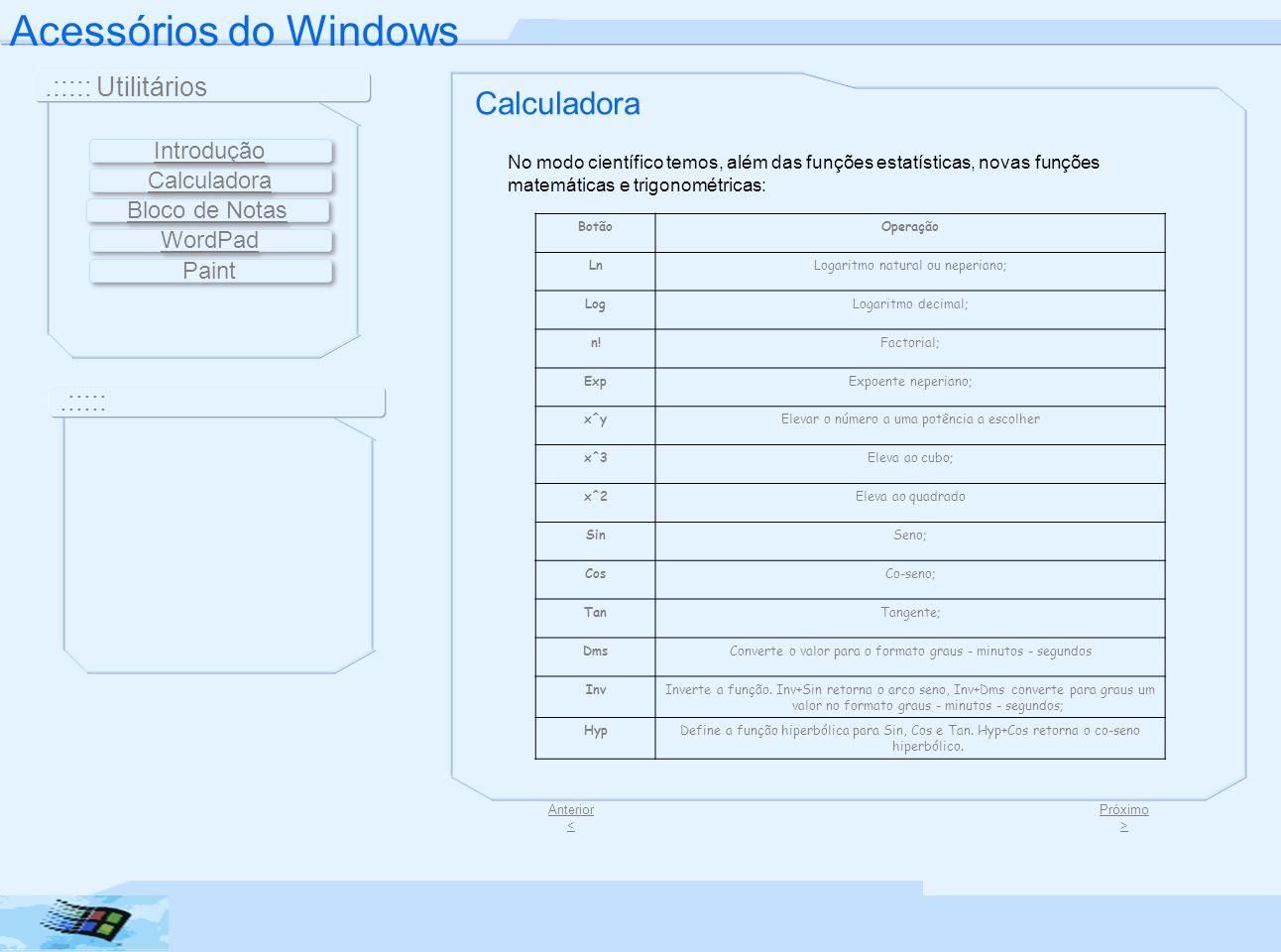 Acessórios do Windows Calculadora .::::: Utilitários .::::: Introdução