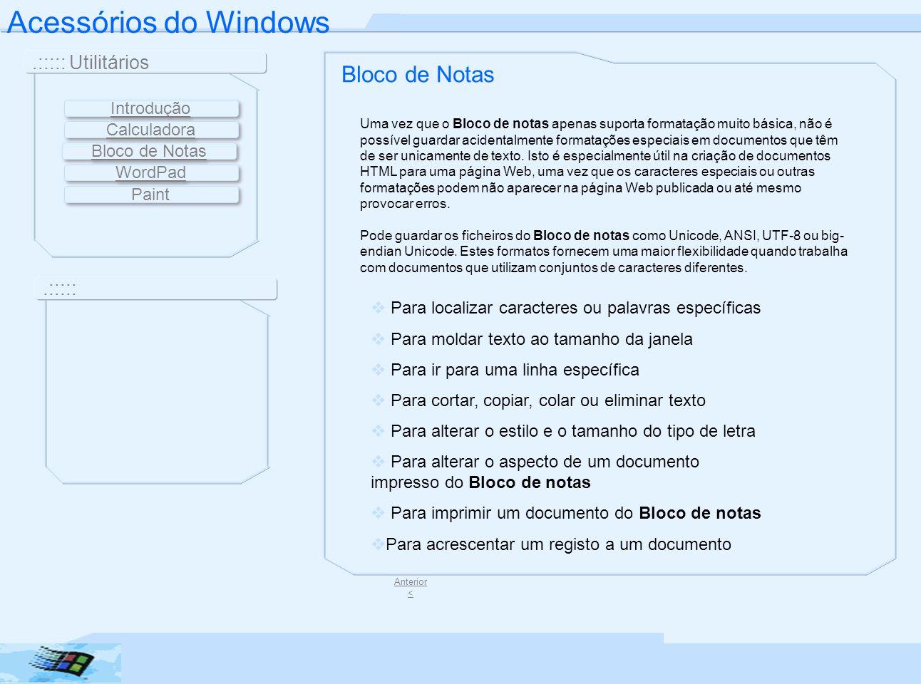 Acessórios do Windows Bloco de Notas .::::: Utilitários .:::::