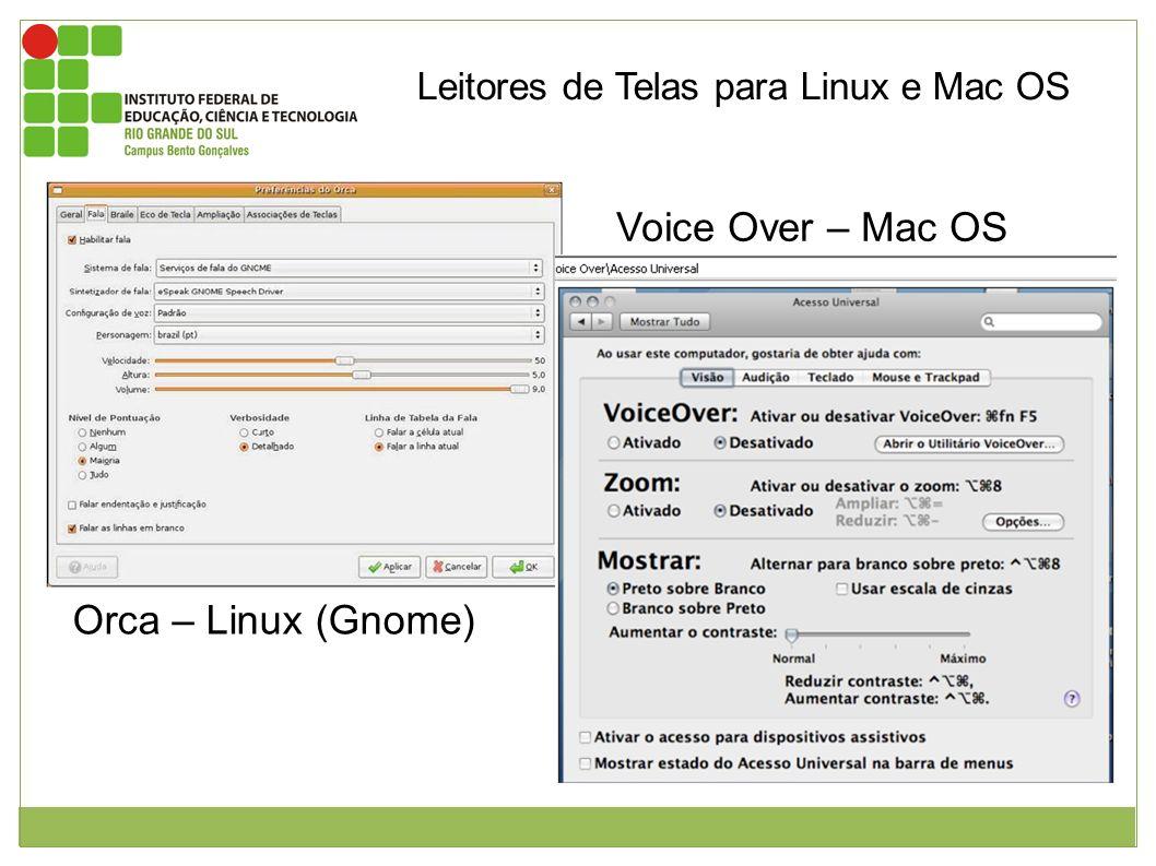 Leitores de Telas para Linux e Mac OS