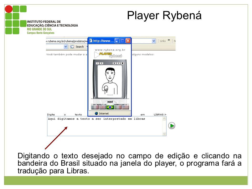 Player Rybená Imagem da página inicial do Player Rybená e janela mostrando a interpretação em libras.