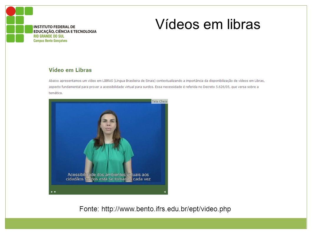 Vídeos em libras Imagem mostrando o vídeo em libras que fala sobre a acessibilidade dos ambientes virtuais.