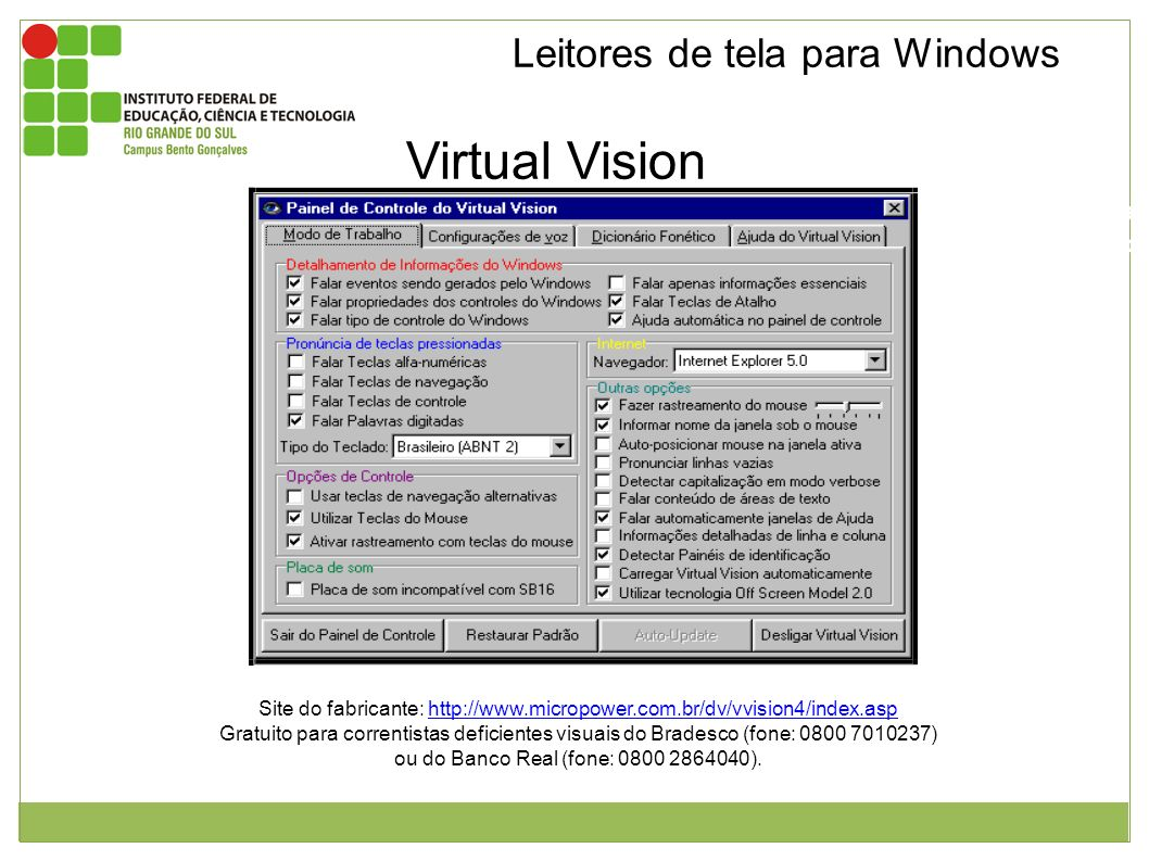 Virtual Vision Leitores de tela para Windows