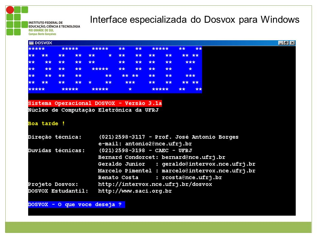 Interface especializada do Dosvox para Windows