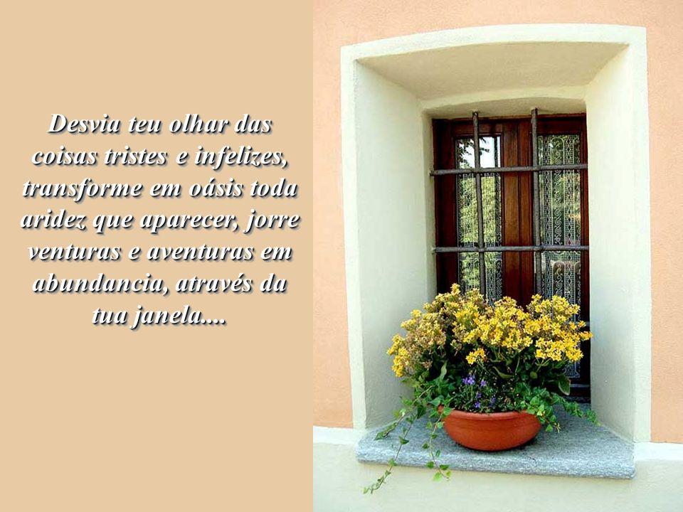 Desvia teu olhar das coisas tristes e infelizes, transforme em oásis toda aridez que aparecer, jorre venturas e aventuras em abundancia, através da tua janela....