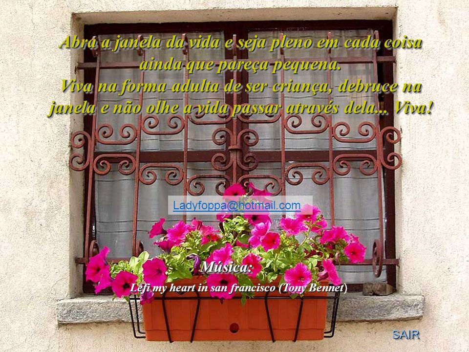 Abra a janela da vida e seja pleno em cada coisa ainda que pareça pequena. Viva na forma adulta de ser criança, debruce na janela e não olhe a vida passar através dela... Viva!