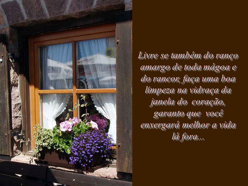 Livre se também do ranço amargo de toda mágoa e do rancor, faça uma boa limpeza na vidraça da janela do coração, garanto que você enxergará melhor a vida lá fora...