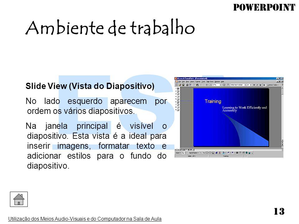 Ambiente de trabalho Slide View (Vista do Diapositivo)