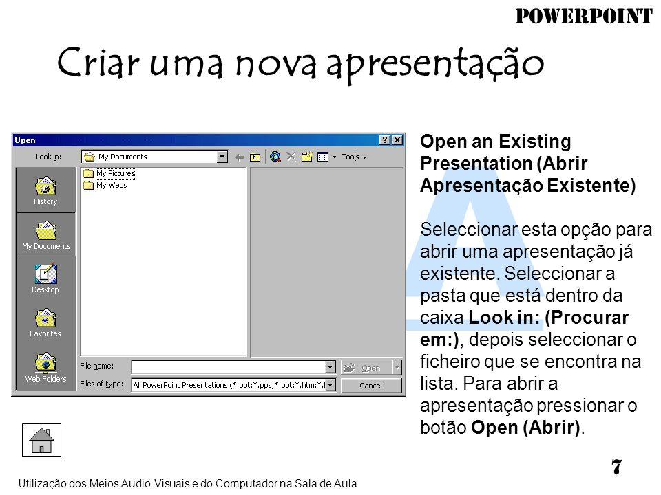 Criar uma nova apresentação
