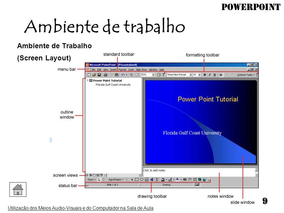 Ambiente de trabalho Ambiente de Trabalho (Screen Layout)