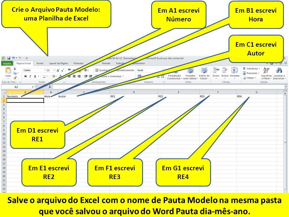 Crie o Arquivo Pauta Modelo: uma Planilha de Excel
