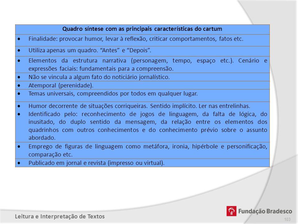Quadro síntese com as principais características do cartum