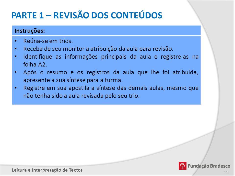 PARTE 1 – REVISÃO DOS CONTEÚDOS