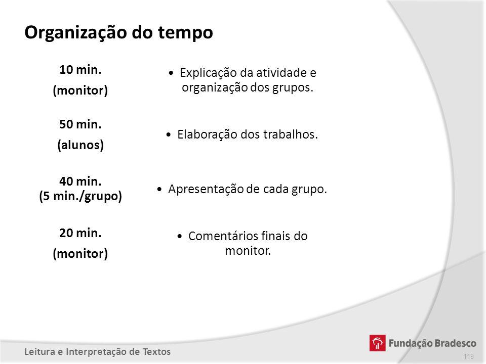 Organização do tempo 10 min. (monitor)