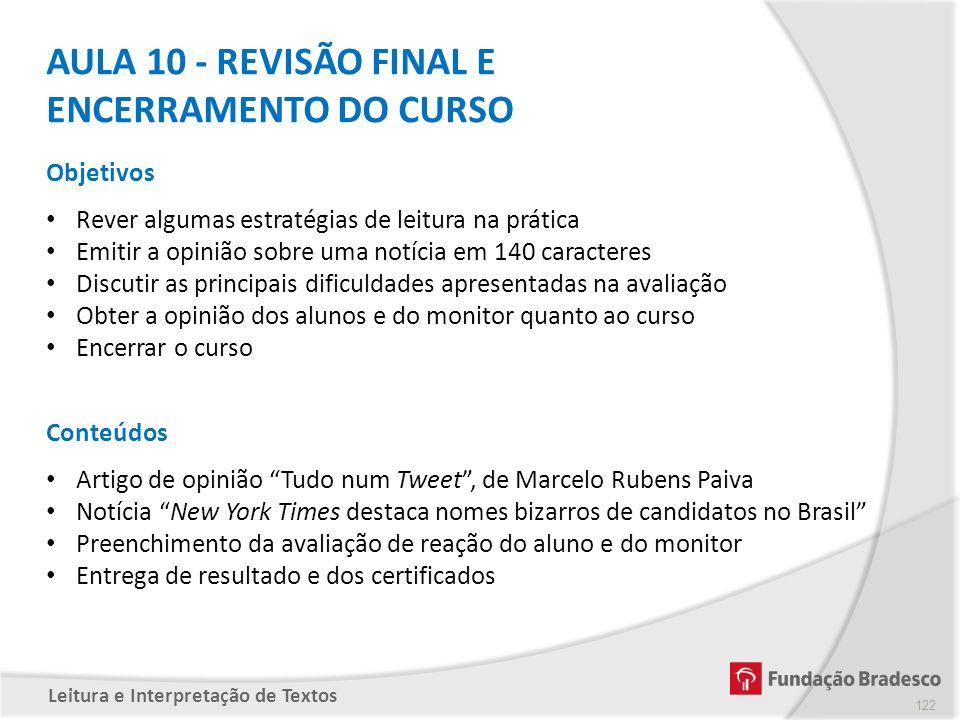 AULA 10 - REVISÃO FINAL E ENCERRAMENTO DO CURSO
