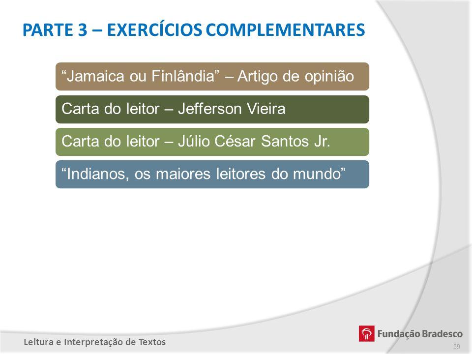 PARTE 3 – EXERCÍCIOS COMPLEMENTARES