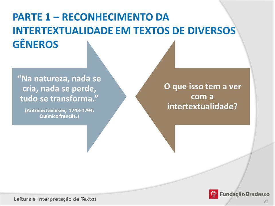 PARTE 1 – RECONHECIMENTO DA INTERTEXTUALIDADE EM TEXTOS DE DIVERSOS GÊNEROS