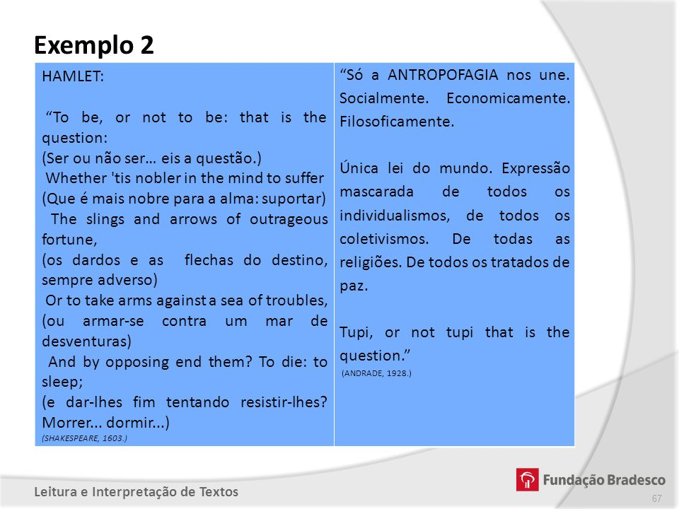 Exemplo 2 HAMLET: To be, or not to be: that is the question: