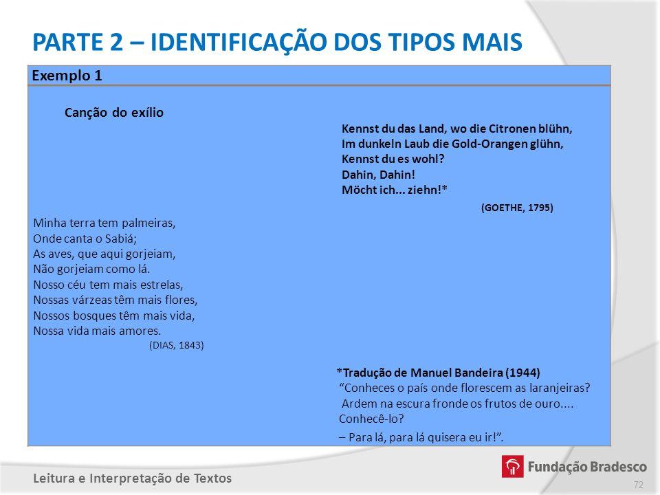 PARTE 2 – IDENTIFICAÇÃO DOS TIPOS MAIS COMUNS DE INTERTEXTUALIDADE