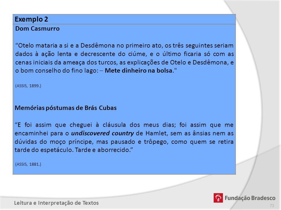 Exemplo 2 Dom Casmurro.