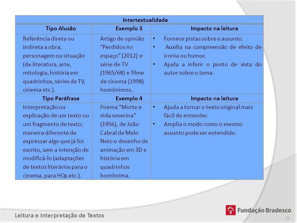 Intertextualidade Tipo Alusão. Exemplo 3. Impacto na leitura.
