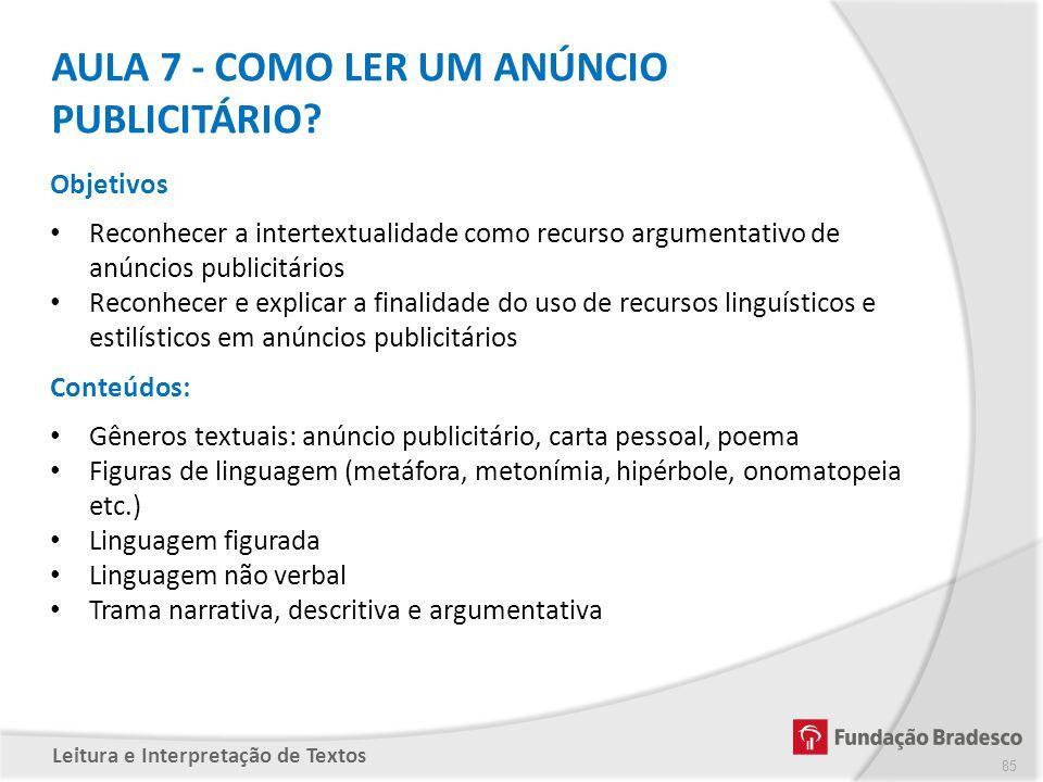 AULA 7 - COMO LER UM ANÚNCIO PUBLICITÁRIO