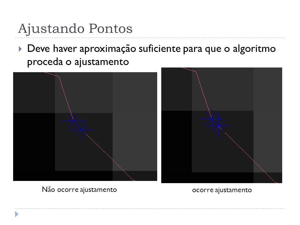 Ajustando Pontos Deve haver aproximação suficiente para que o algoritmo proceda o ajustamento. Não ocorre ajustamento.