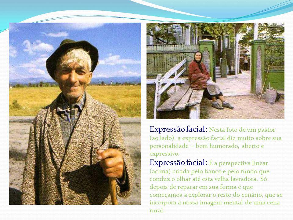 Expressão facial: Nesta foto de um pastor (ao lado), a expressão facial diz muito sobre sua personalidade – bem humorado, aberto e expressivo.