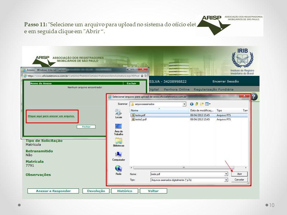 Passo 11: Selecione um arquivo para upload no sistema do ofício eletrônico