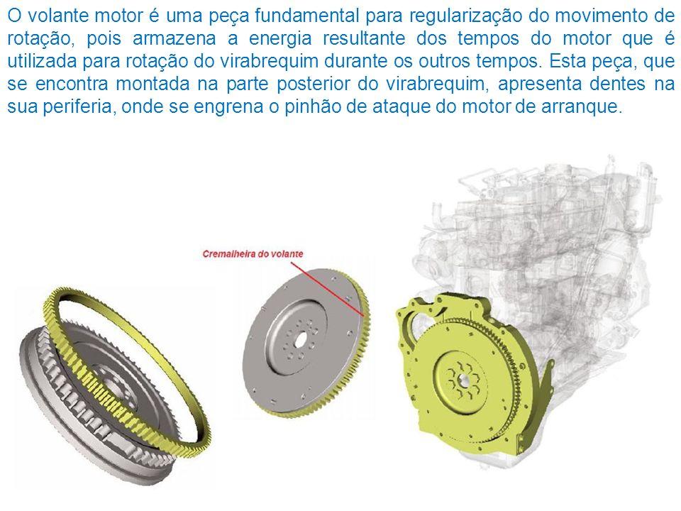 O volante motor é uma peça fundamental para regularização do movimento de rotação, pois armazena a energia resultante dos tempos do motor que é utilizada para rotação do virabrequim durante os outros tempos.
