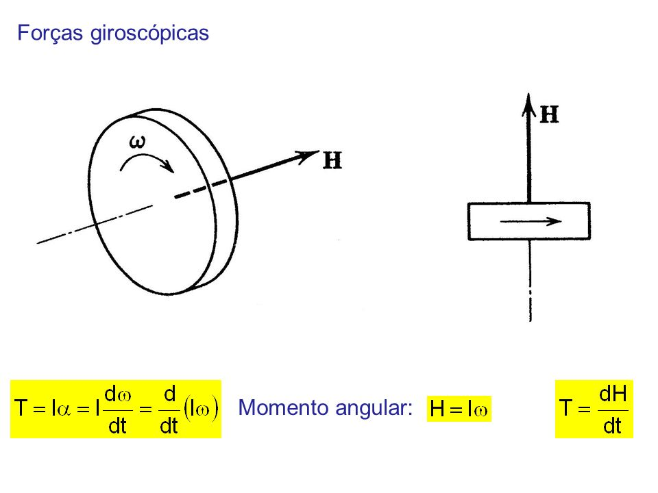 Forças giroscópicas Momento angular:
