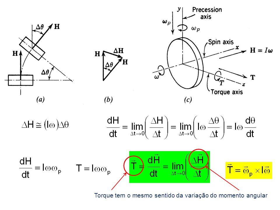 Torque tem o mesmo sentido da variação do momento angular