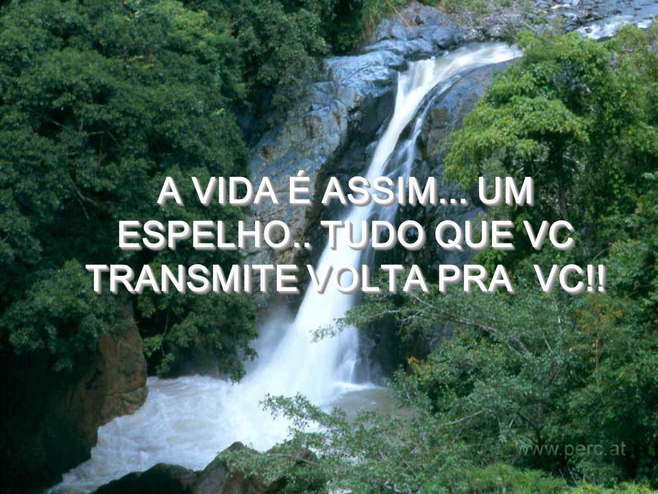 A VIDA É ASSIM... UM ESPELHO.. TUDO QUE VC TRANSMITE VOLTA PRA VC!!