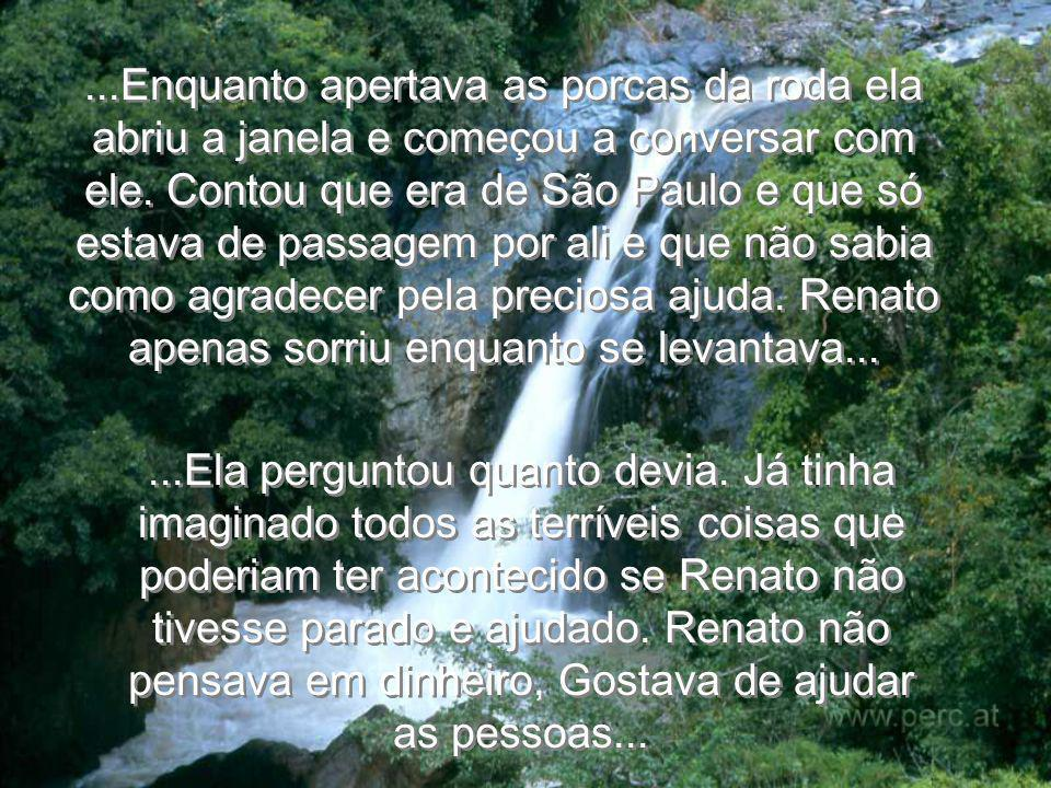 ...Enquanto apertava as porcas da roda ela abriu a janela e começou a conversar com ele. Contou que era de São Paulo e que só estava de passagem por ali e que não sabia como agradecer pela preciosa ajuda. Renato apenas sorriu enquanto se levantava...