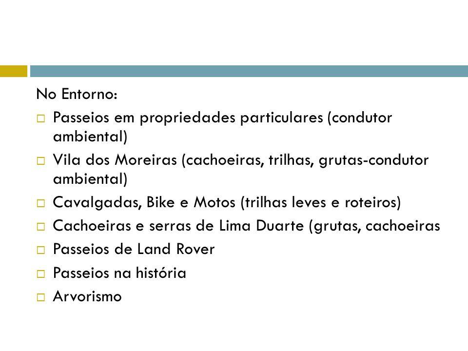 No Entorno: Passeios em propriedades particulares (condutor ambiental) Vila dos Moreiras (cachoeiras, trilhas, grutas-condutor ambiental)