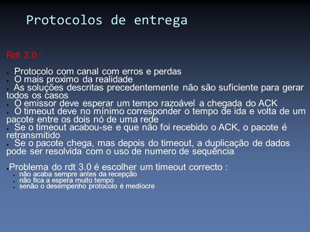 Protocolos de entrega Rdt 3.0 : Protocolo com canal com erros e perdas